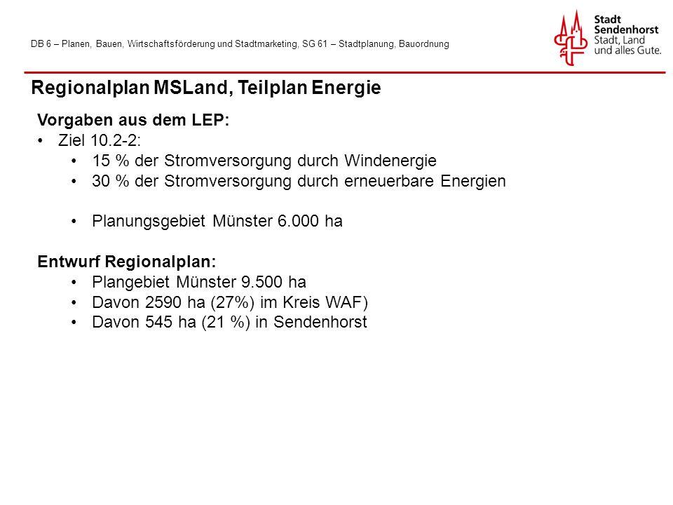 DB 6 – Planen, Bauen, Wirtschaftsförderung und Stadtmarketing, SG 61 – Stadtplanung, Bauordnung Regionalplan MSLand, Teilplan Energie Vorgaben aus dem LEP: Ziel 10.2-2: 15 % der Stromversorgung durch Windenergie 30 % der Stromversorgung durch erneuerbare Energien Planungsgebiet Münster 6.000 ha Entwurf Regionalplan: Plangebiet Münster 9.500 ha Davon 2590 ha (27%) im Kreis WAF) Davon 545 ha (21 %) in Sendenhorst