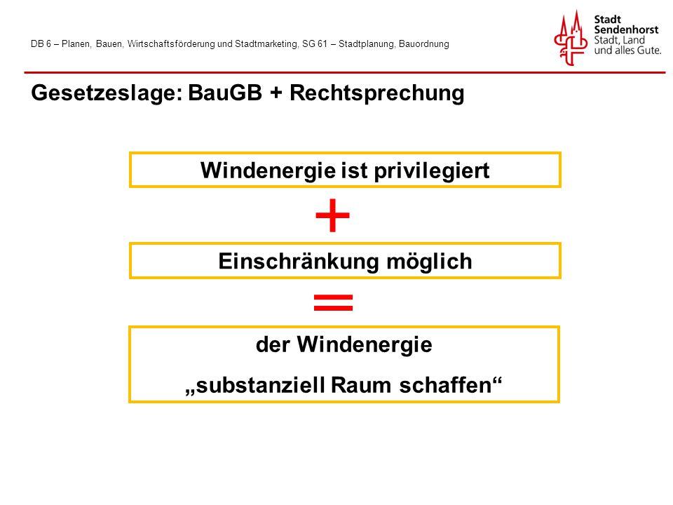 """DB 6 – Planen, Bauen, Wirtschaftsförderung und Stadtmarketing, SG 61 – Stadtplanung, Bauordnung Gesetzeslage: BauGB + Rechtsprechung Windenergie ist privilegiert Einschränkung möglich der Windenergie """"substanziell Raum schaffen"""