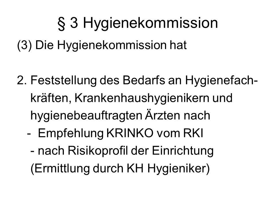 § 3 Hygienekommission (3) Die Hygienekommission hat 2. Feststellung des Bedarfs an Hygienefach- kräften, Krankenhaushygienikern und hygienebeauftragte