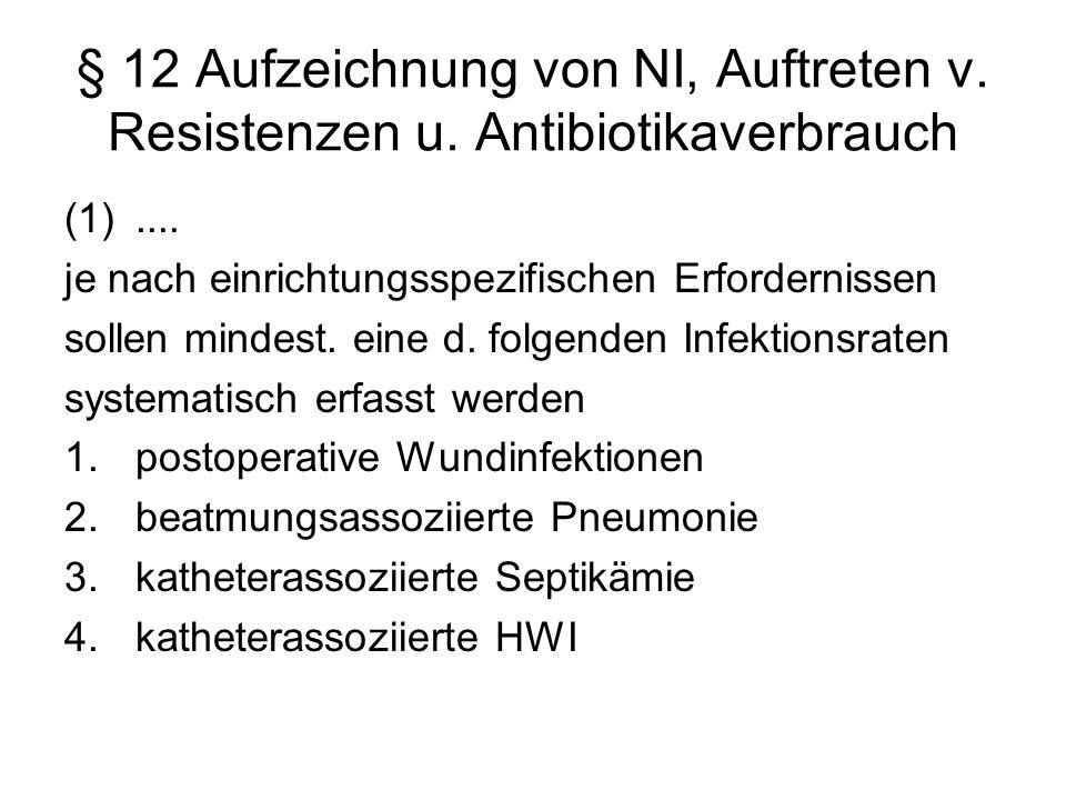 § 12 Aufzeichnung von NI, Auftreten v. Resistenzen u. Antibiotikaverbrauch (1).... je nach einrichtungsspezifischen Erfordernissen sollen mindest. ein