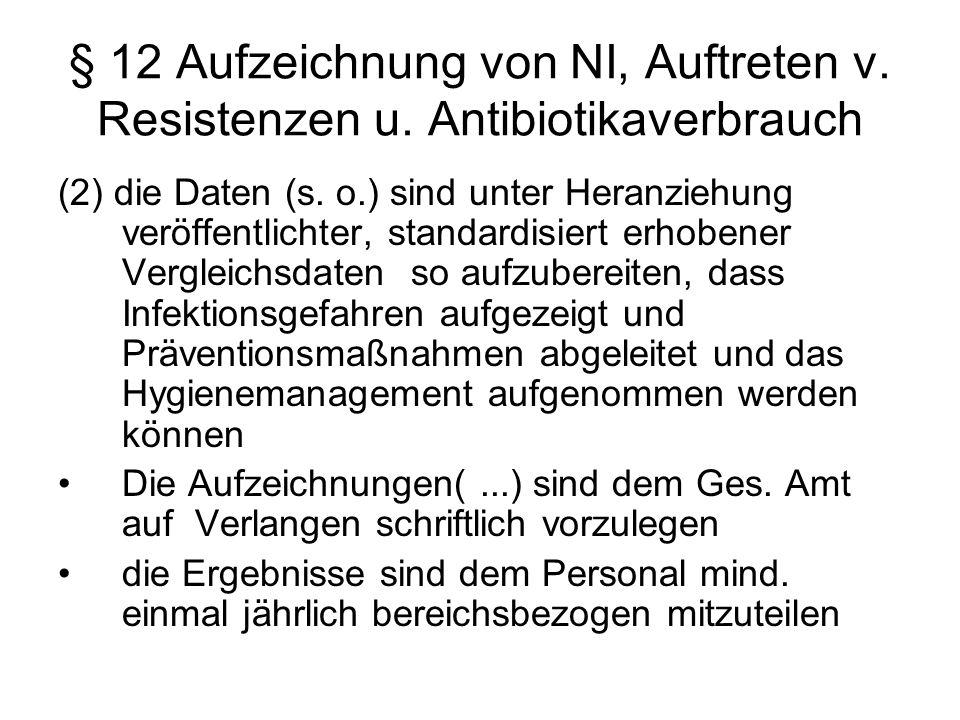 § 12 Aufzeichnung von NI, Auftreten v. Resistenzen u. Antibiotikaverbrauch (2) die Daten (s. o.) sind unter Heranziehung veröffentlichter, standardisi