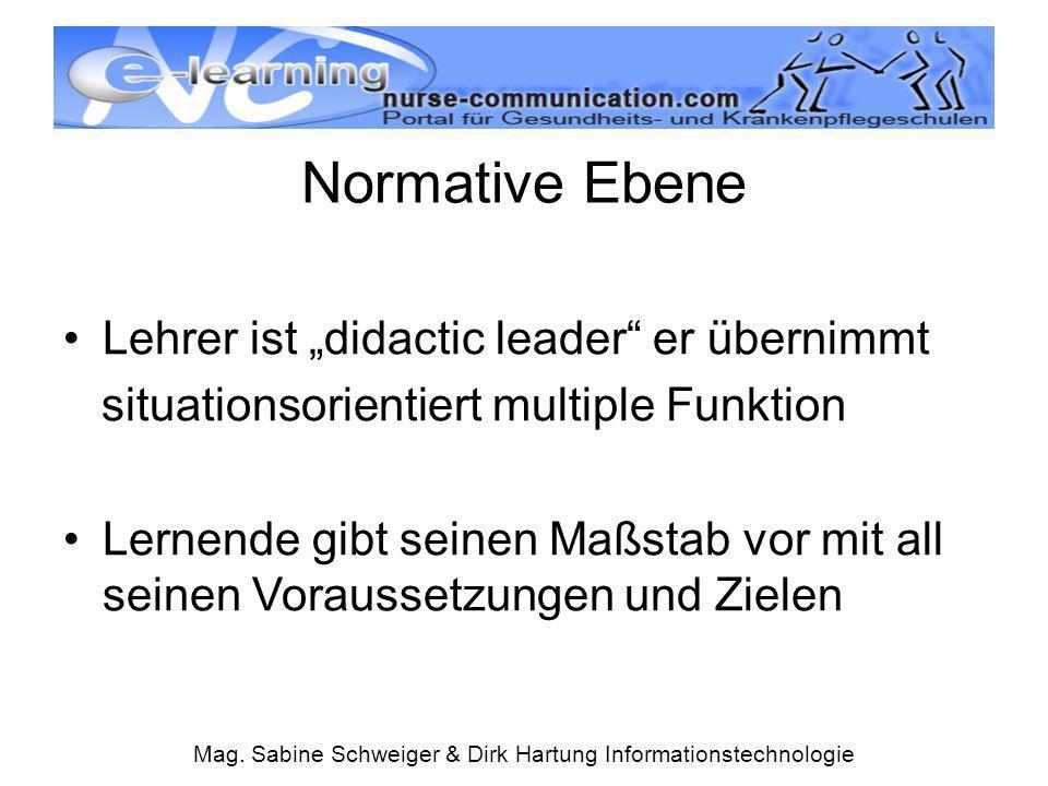 """Mag. Sabine Schweiger & Dirk Hartung Informationstechnologie Normative Ebene Lehrer ist """"didactic leader"""" er übernimmt situationsorientiert multiple F"""