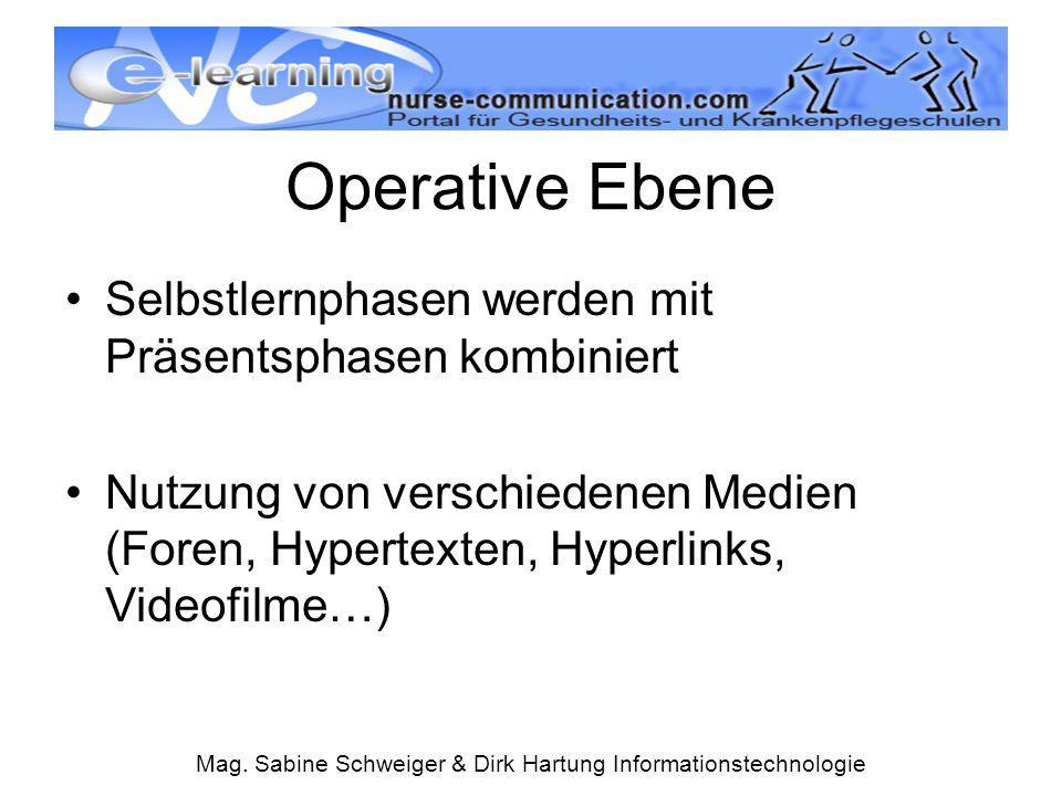 Mag. Sabine Schweiger & Dirk Hartung Informationstechnologie Operative Ebene Selbstlernphasen werden mit Präsentsphasen kombiniert Nutzung von verschi