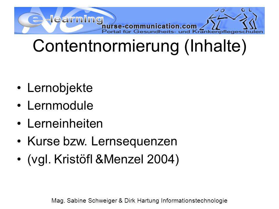 Mag. Sabine Schweiger & Dirk Hartung Informationstechnologie Contentnormierung (Inhalte) Lernobjekte Lernmodule Lerneinheiten Kurse bzw. Lernsequenzen