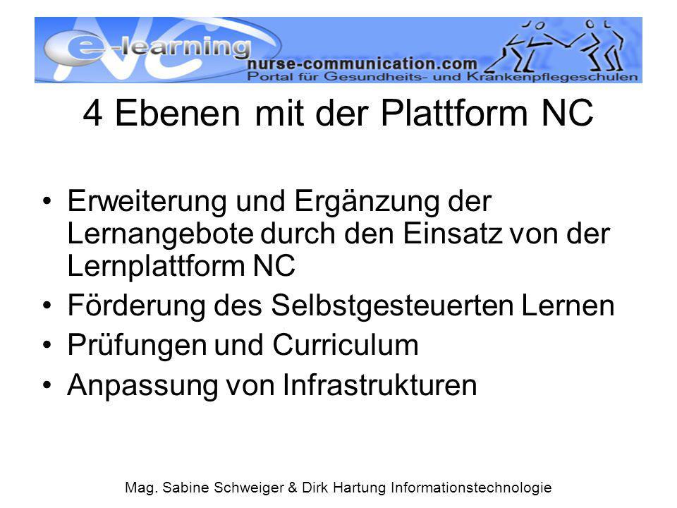 Mag. Sabine Schweiger & Dirk Hartung Informationstechnologie 4 Ebenen mit der Plattform NC Erweiterung und Ergänzung der Lernangebote durch den Einsat