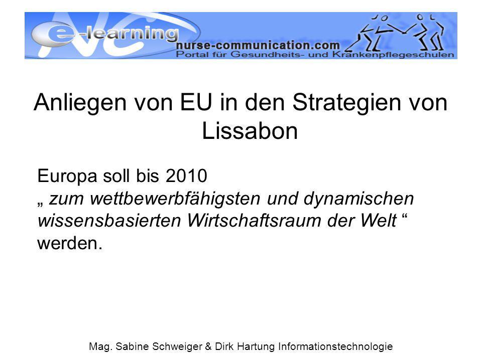 """Mag. Sabine Schweiger & Dirk Hartung Informationstechnologie Anliegen von EU in den Strategien von Lissabon Europa soll bis 2010 """" zum wettbewerbfähig"""
