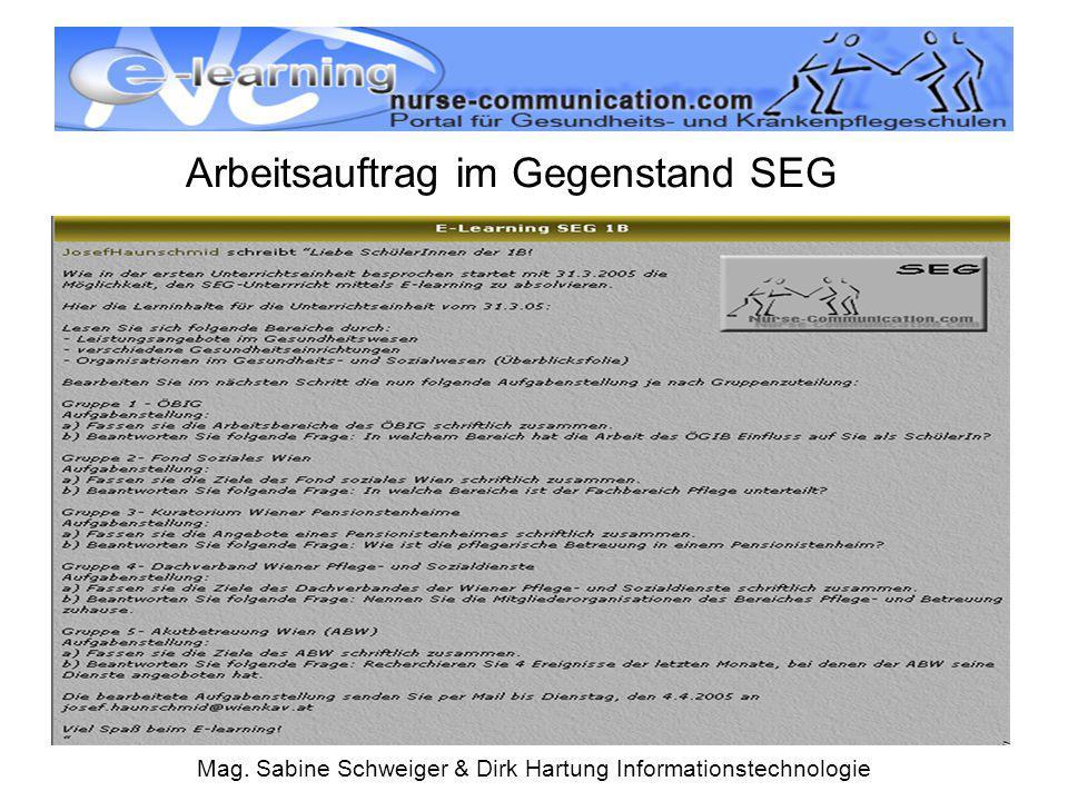 Mag. Sabine Schweiger & Dirk Hartung Informationstechnologie Arbeitsauftrag im Gegenstand SEG