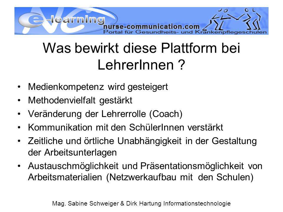Mag. Sabine Schweiger & Dirk Hartung Informationstechnologie Was bewirkt diese Plattform bei LehrerInnen ? Medienkompetenz wird gesteigert Methodenvie