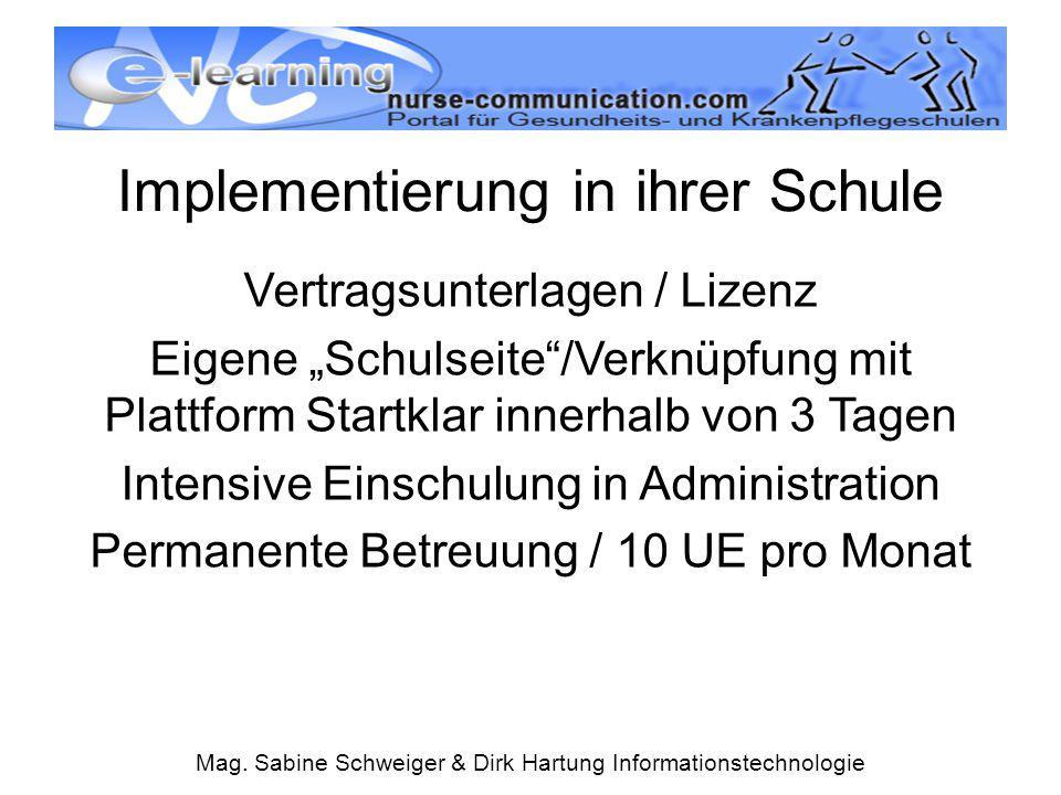 """Mag. Sabine Schweiger & Dirk Hartung Informationstechnologie Implementierung in ihrer Schule Vertragsunterlagen / Lizenz Eigene """"Schulseite""""/Verknüpfu"""