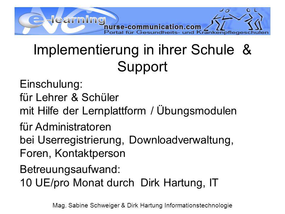 Mag. Sabine Schweiger & Dirk Hartung Informationstechnologie Implementierung in ihrer Schule & Support Einschulung: für Lehrer & Schüler mit Hilfe der