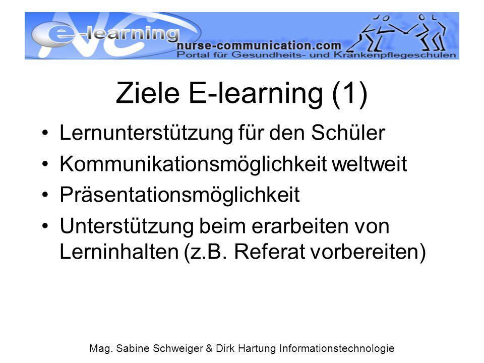 Mag. Sabine Schweiger & Dirk Hartung Informationstechnologie Ziele E-learning (1) Lernunterstützung für den Schüler Kommunikationsmöglichkeit weltweit