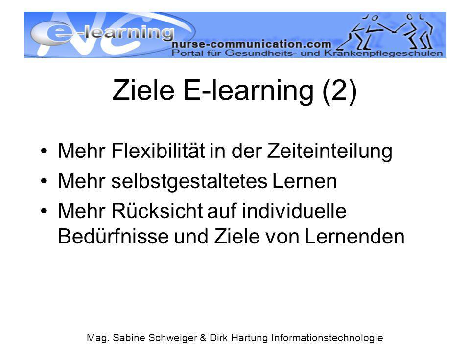 Mag. Sabine Schweiger & Dirk Hartung Informationstechnologie Mehr Flexibilität in der Zeiteinteilung Mehr selbstgestaltetes Lernen Mehr Rücksicht auf