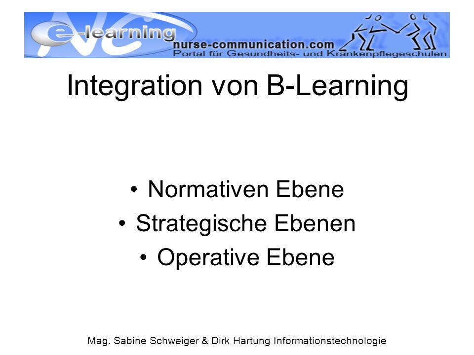 Mag. Sabine Schweiger & Dirk Hartung Informationstechnologie Integration von B-Learning Normativen Ebene Strategische Ebenen Operative Ebene
