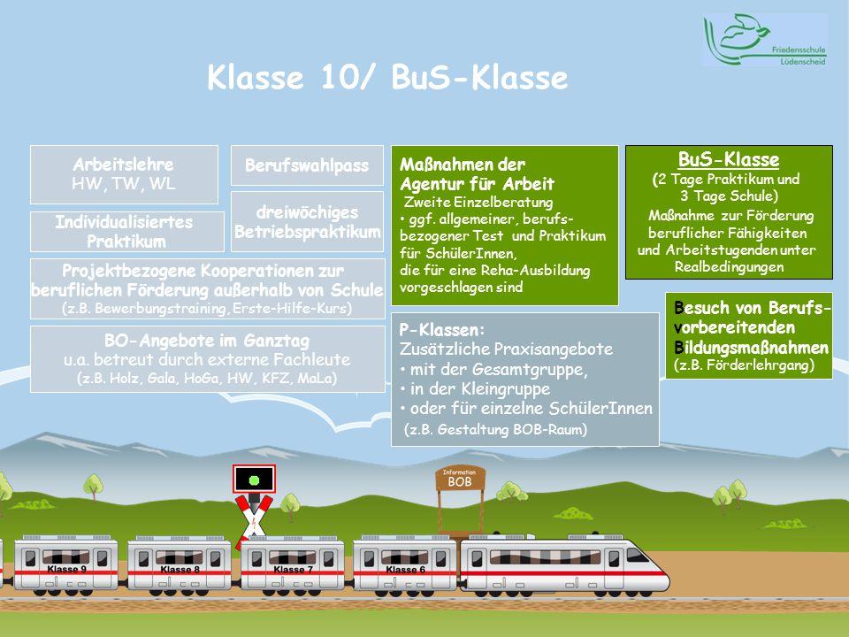 Klasse 10/ BuS-Klasse Arbeitslehre HW, TW, WL Individualisiertes Praktikum BO-Angebote im Ganztag u.a.