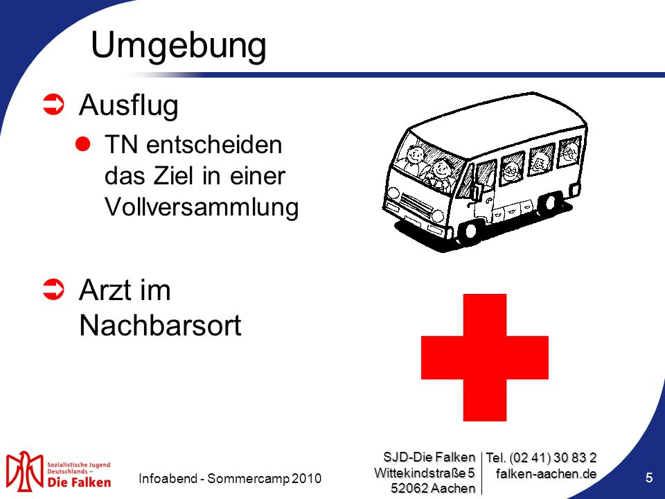 SJD-Die Falken Wittekindstraße 5 52062 Aachen Tel. (02 41) 30 83 2 falken-aachen.de Infoabend - Sommercamp 2010 Umgebung  Ausflug TN entscheiden das