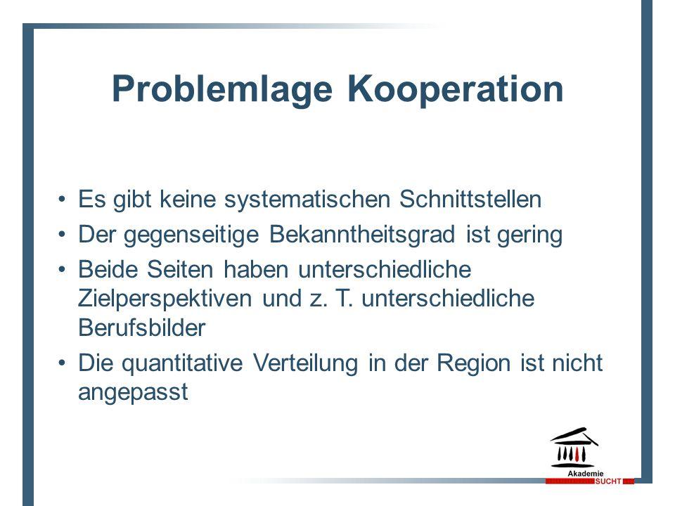 Problemlage Kooperation Es gibt keine systematischen Schnittstellen Der gegenseitige Bekanntheitsgrad ist gering Beide Seiten haben unterschiedliche Z