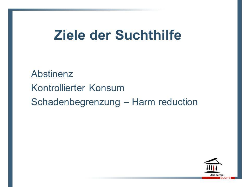 Abstinenz Kontrollierter Konsum Schadenbegrenzung – Harm reduction Ziele der Suchthilfe