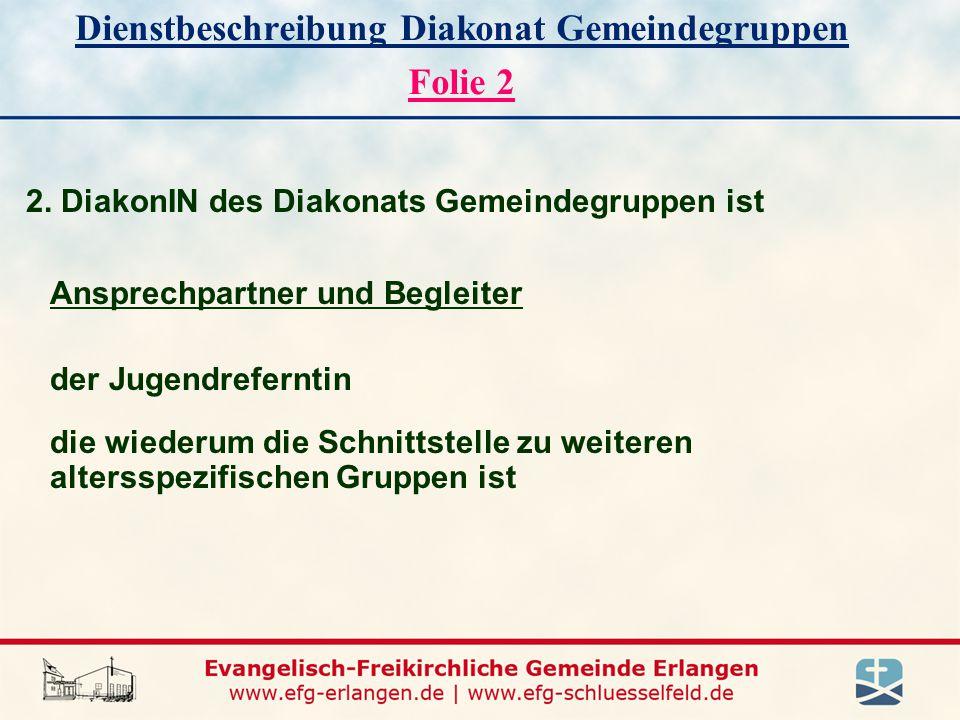 Dienstbeschreibung Diakonat Gemeindegruppen Folie 2 2.