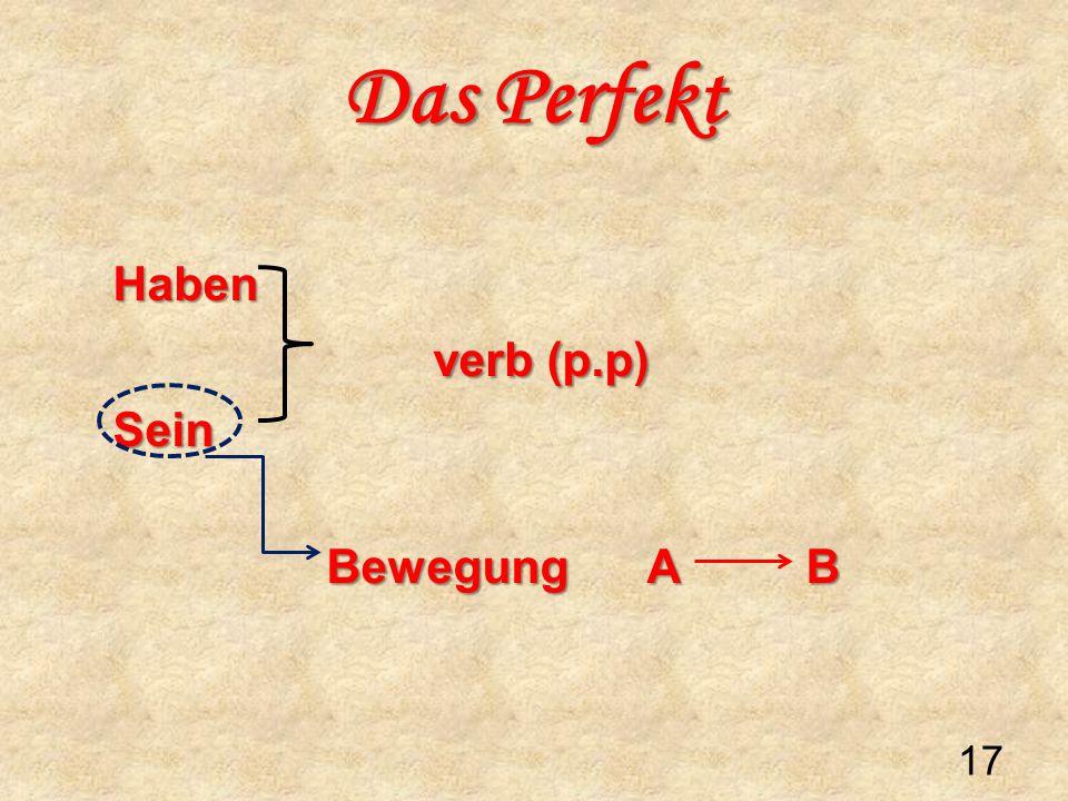Haben verb (p.p) Sein Bewegung A B Das Perfekt 17