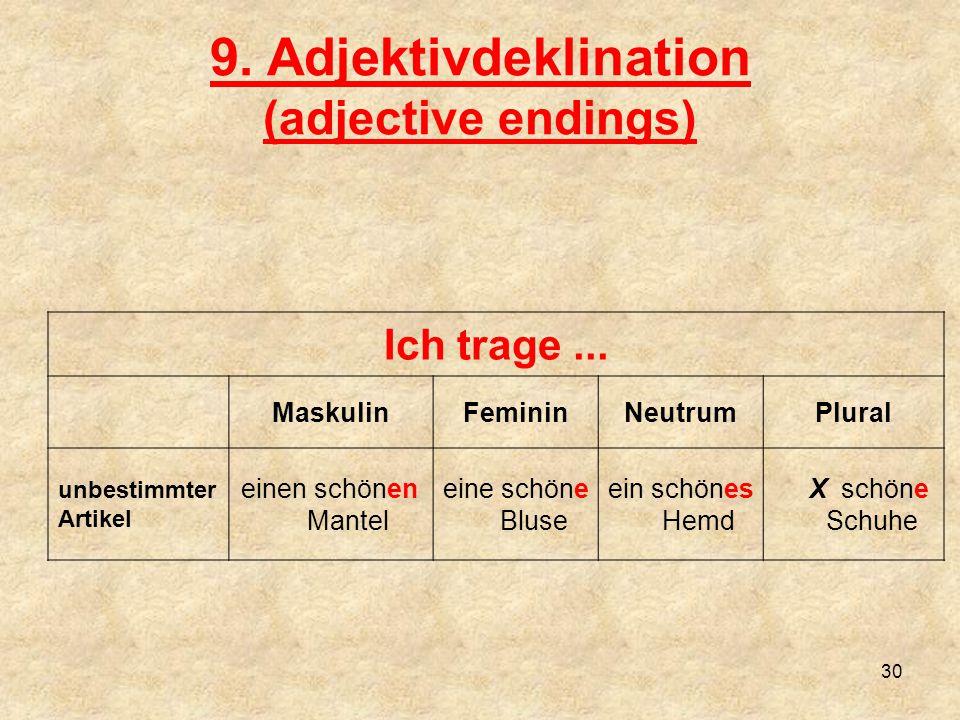 9.Adjektivdeklination (adjective endings) Ich trage...
