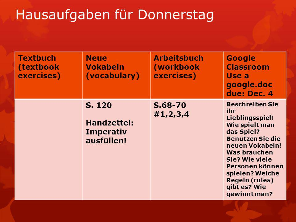Hausaufgaben für Donnerstag Textbuch (textbook exercises) Neue Vokabeln (vocabulary) Arbeitsbuch (workbook exercises) Google Classroom Use a google.do