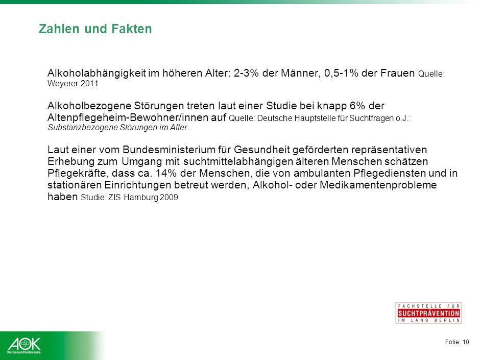 Folie: 10 Zahlen und Fakten Alkoholabhängigkeit im höheren Alter: 2-3% der Männer, 0,5-1% der Frauen Quelle: Weyerer 2011 Alkoholbezogene Störungen tr