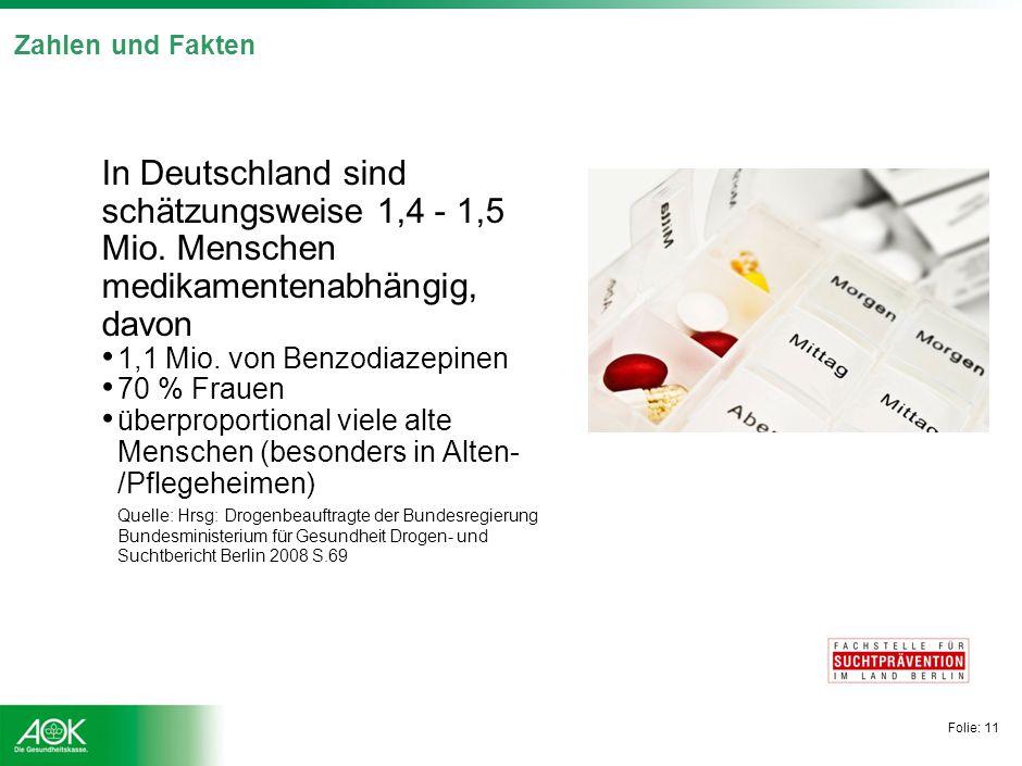 Folie: 11 Zahlen und Fakten In Deutschland sind schätzungsweise 1,4 - 1,5 Mio. Menschen medikamentenabhängig, davon 1,1 Mio. von Benzodiazepinen 70 %