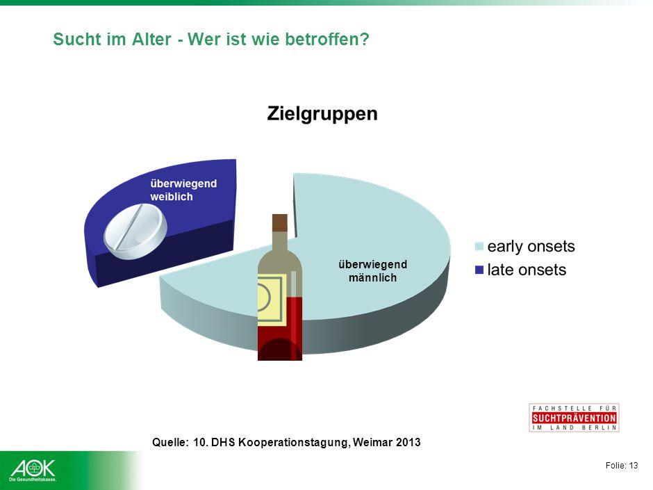 Folie: 13 Sucht im Alter - Wer ist wie betroffen? überwiegend männlich Quelle: 10. DHS Kooperationstagung, Weimar 2013
