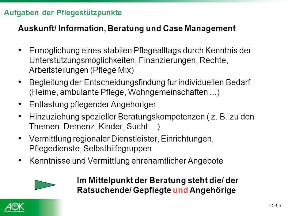 Folie: 2 Aufgaben der Pflegestützpunkte Auskunft/ Information, Beratung und Case Management Ermöglichung eines stabilen Pflegealltags durch Kenntnis d