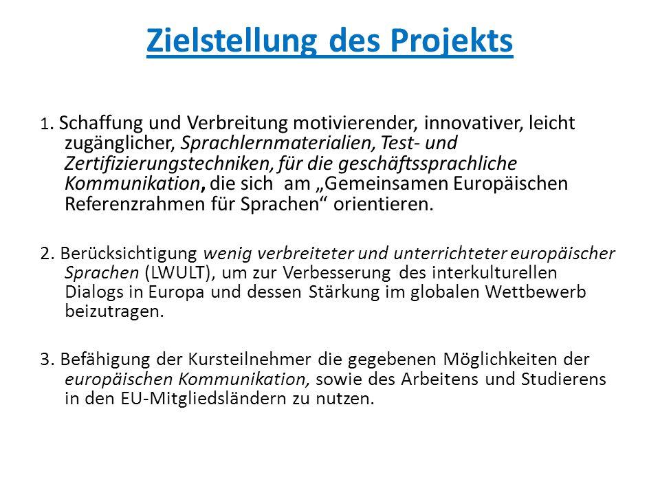 """Ansatzpunkte  LINGUA-Projekt """"Entwicklung und Erprobung multimedialer Fremdsprachenprogramme Wirtschaftsdänisch, -deutsch, - französisch, -spanisch für den Selbstlern- und Fernunterricht (D/95/A/188/P/III/FPC) – Laufzeit: 1995-1997  ERASMUS/LINGUA-D-Projekt ECL Die im Rahmen des ersten Projekts entwickelten Materialien zur deutschen Geschäftskommunikation wurden, weltweit (u.a."""