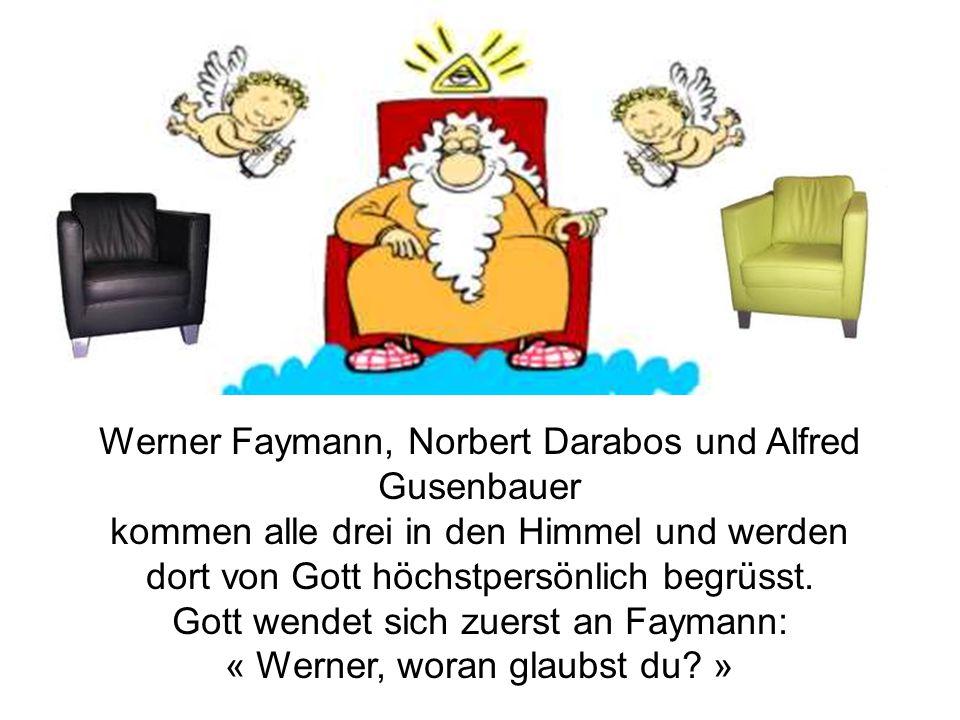 Werner Faymann, Norbert Darabos und Alfred Gusenbauer kommen alle drei in den Himmel und werden dort von Gott höchstpersönlich begrüsst. Gott wendet s