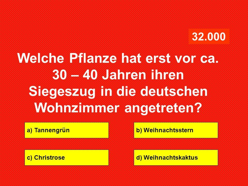 a) Tannengrünb) Weihnachtsstern c) Christrosed) Weihnachtskaktus 32.000 Welche Pflanze hat erst vor ca. 30 – 40 Jahren ihren Siegeszug in die deutsche