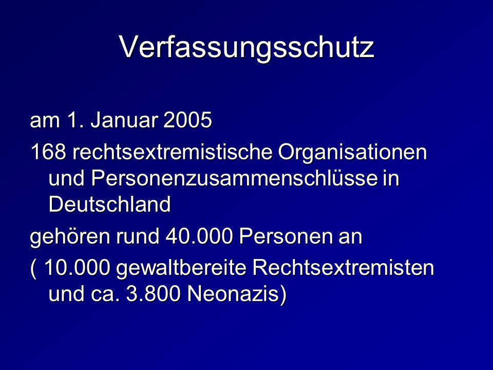 am 1. Januar 2005 168 rechtsextremistische Organisationen und Personenzusammenschlüsse in Deutschland gehören rund 40.000 Personen an ( 10.000 gewaltb