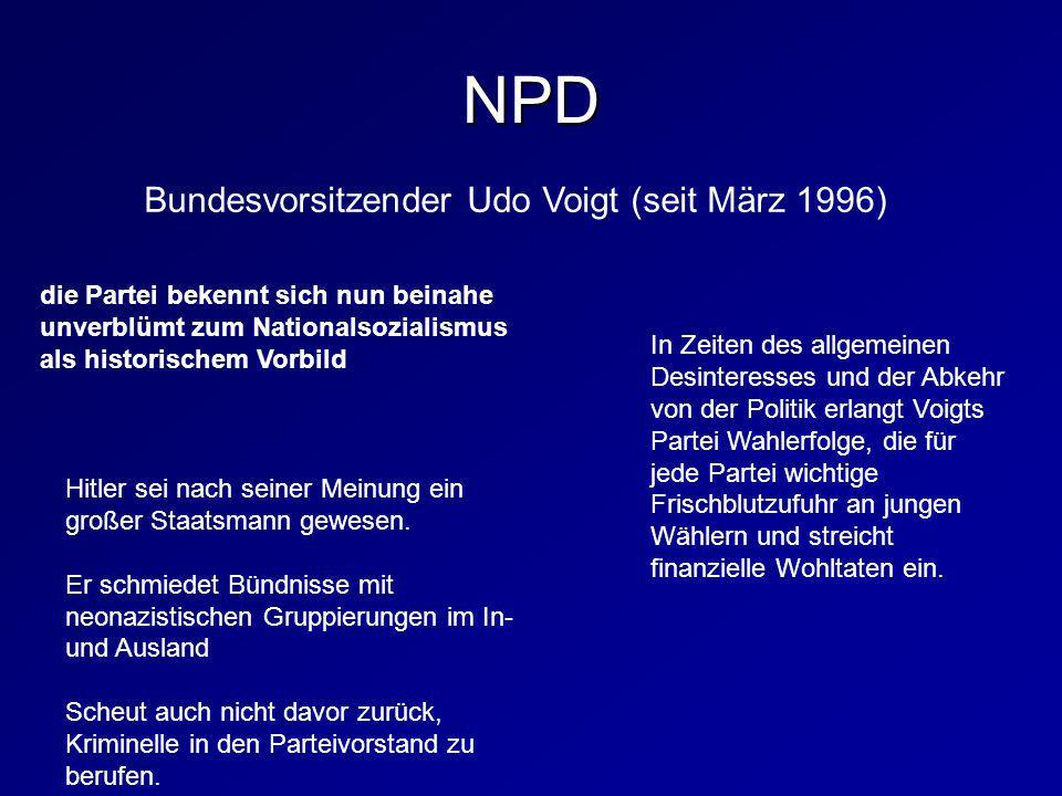 die Partei bekennt sich nun beinahe unverblümt zum Nationalsozialismus als historischem Vorbild Bundesvorsitzender Udo Voigt (seit März 1996) In Zeite