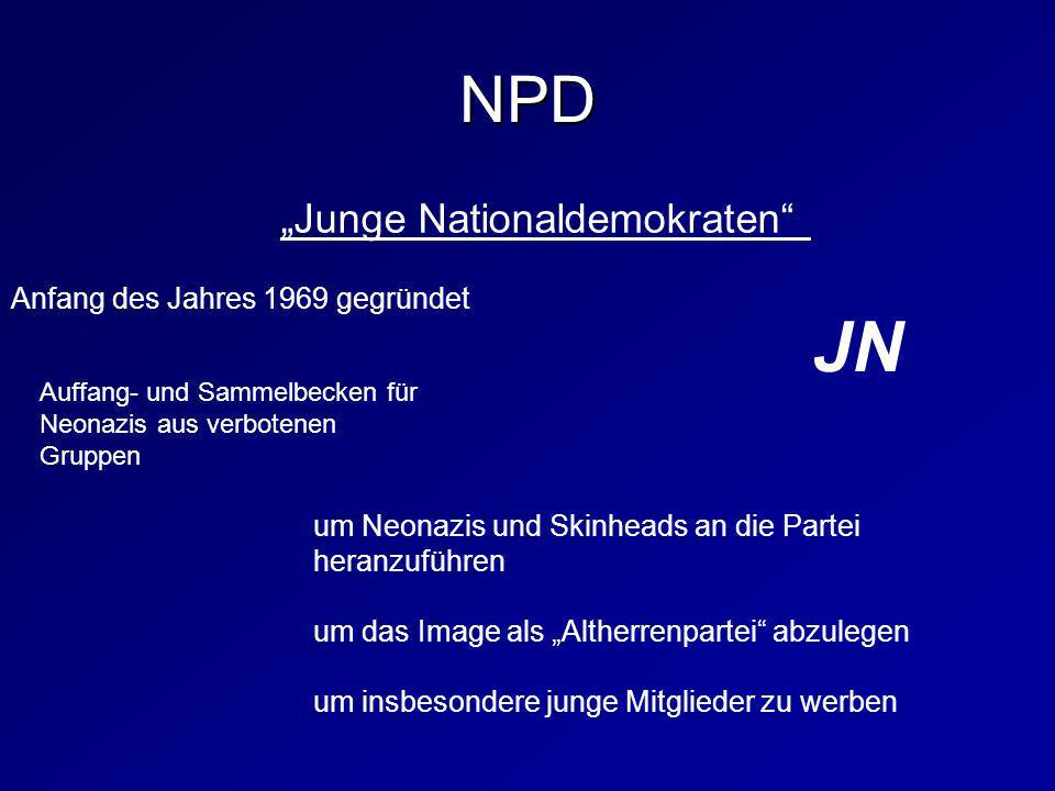 """""""Junge Nationaldemokraten"""" JN um Neonazis und Skinheads an die Partei heranzuführen um das Image als """"Altherrenpartei"""" abzulegen um insbesondere junge"""
