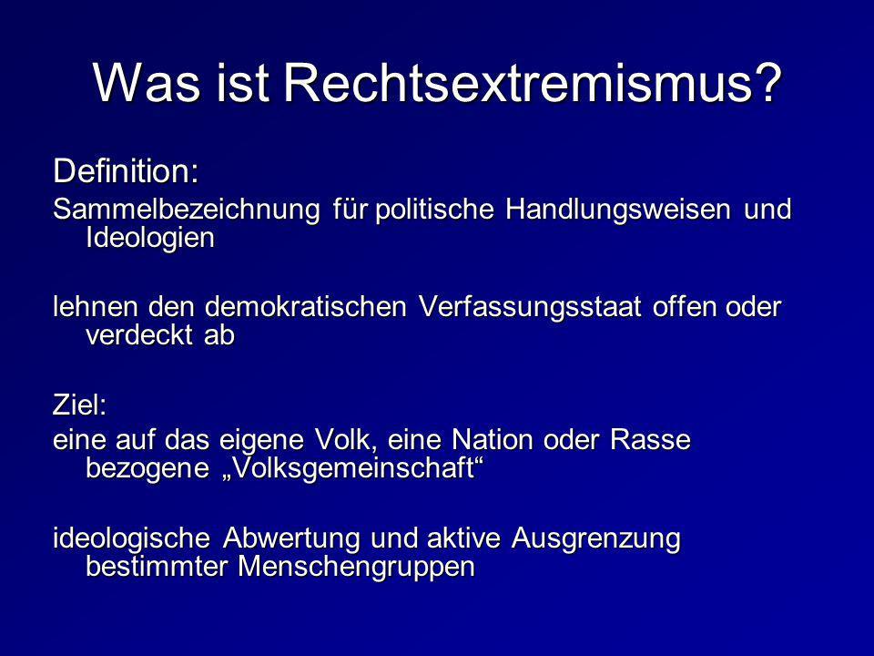 Was ist Rechtsextremismus? Definition: Sammelbezeichnung für politische Handlungsweisen und Ideologien lehnen den demokratischen Verfassungsstaat offe