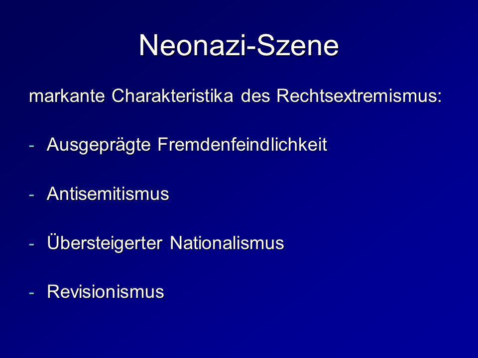 markante Charakteristika des Rechtsextremismus: - Ausgeprägte Fremdenfeindlichkeit - Antisemitismus - Übersteigerter Nationalismus - Revisionismus Neo