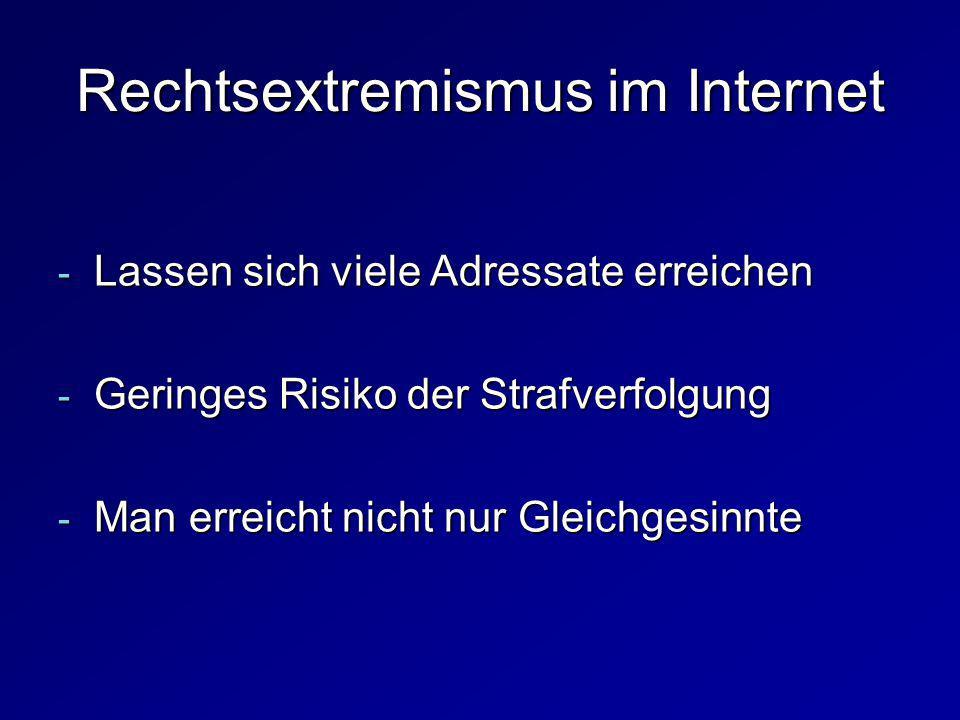 Rechtsextremismus im Internet - Lassen sich viele Adressate erreichen - Geringes Risiko der Strafverfolgung - Man erreicht nicht nur Gleichgesinnte