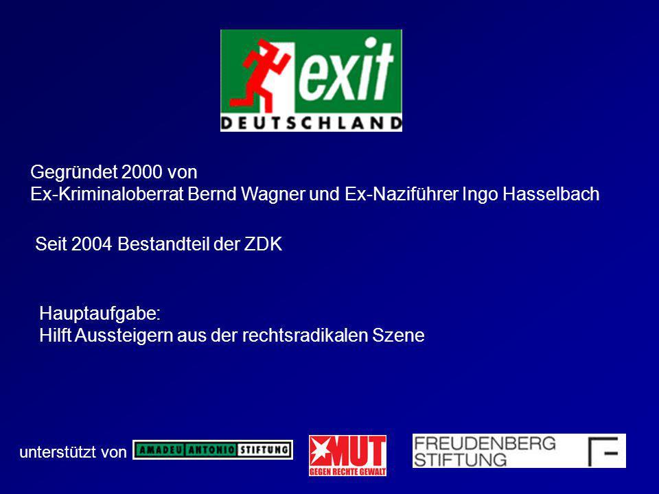 Gegründet 2000 von Ex-Kriminaloberrat Bernd Wagner und Ex-Naziführer Ingo Hasselbach unterstützt von Seit 2004 Bestandteil der ZDK Hauptaufgabe: Hilft
