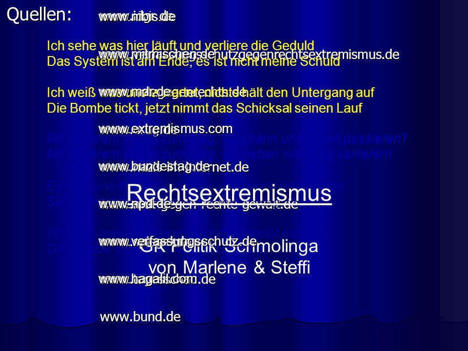 Quellen: www.idgr.de www.verfassungsschutzgegenrechtsextremismus.dewww.netzgegenrechts.dewww.arug.dewww.nazis-im-internet.dewww.mut-gegen-rechte-gewal