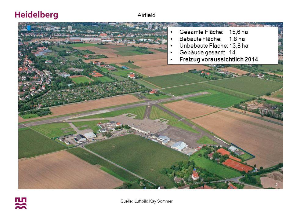 Quelle: Luftbild Kay Sommer Airfield Gesamte Fläche: 15,6 ha Bebaute Fläche: 1,8 ha Unbebaute Fläche: 13,8 ha Gebäude gesamt: 14 Freizug voraussichtli