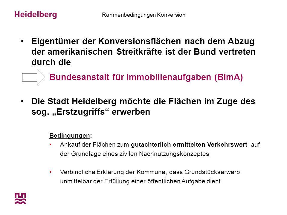 """Rahmenbedingungen Konversion Gründung der Konversionsgesellschaft Heidelberg mbH  Vehikel, um von dem Erstzugriffsrecht Gebrauch zu machen und die entwicklungspolitischen Ziele umzusetzen  Primäres Ziel ist der Zwischenerwerb und die Weiterveräußerung an Investoren, die die Ziele der Stadt Heidelberg umsetzen Rahmenvereinbarungen """"Konversion auf städtischer und regionaler Ebene wurden mit der BImA abgeschlossen  Kooperative Zusammenarbeit auf der Basis des Konsensprinzips"""