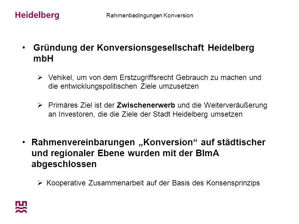 Rahmenbedingungen Konversion Gründung der Konversionsgesellschaft Heidelberg mbH  Vehikel, um von dem Erstzugriffsrecht Gebrauch zu machen und die en