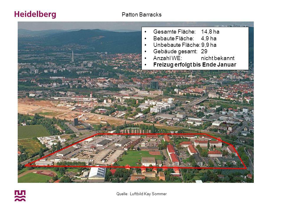Quelle: Luftbild Kay Sommer Patton Barracks Gesamte Fläche: 14,8 ha Bebaute Fläche: 4,9 ha Unbebaute Fläche: 9,9 ha Gebäude gesamt: 29 Anzahl WE:nicht