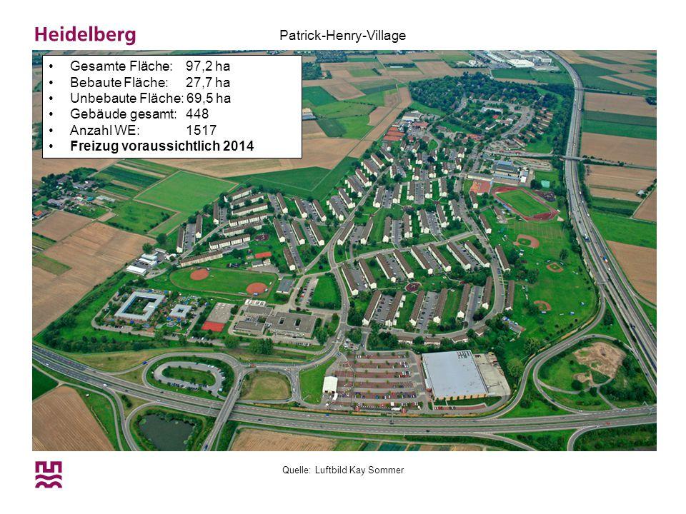 Quelle: Luftbild Kay Sommer Patrick-Henry-Village Gesamte Fläche: 97,2 ha Bebaute Fläche: 27,7 ha Unbebaute Fläche: 69,5 ha Gebäude gesamt: 448 Anzahl