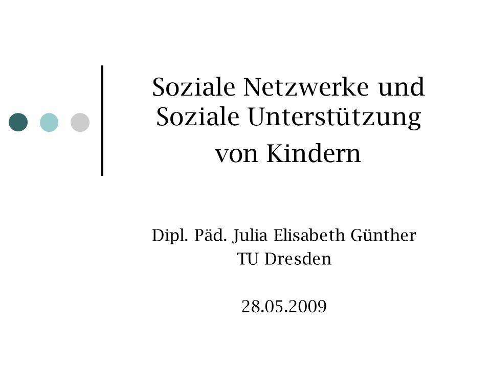 Soziale Netzwerke und Soziale Unterstützung von Kindern Dipl. Päd. Julia Elisabeth Günther TU Dresden 28.05.2009