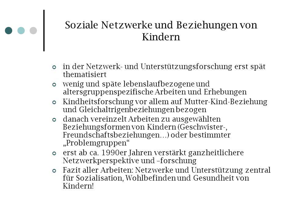Soziale Netzwerke und Beziehungen von Kindern in der Netzwerk- und Unterstützungsforschung erst spät thematisiert wenig und späte lebenslaufbezogene u