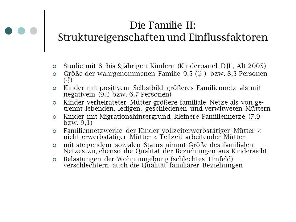 Die Familie II: Struktureigenschaften und Einflussfaktoren Studie mit 8- bis 9jährigen Kindern (Kinderpanel DJI ; Alt 2005) Größe der wahrgenommenen F