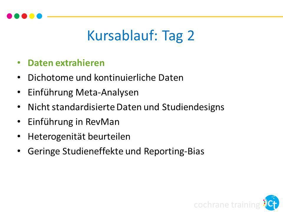 cochrane training Kursablauf: Tag 2 Daten extrahieren Dichotome und kontinuierliche Daten Einführung Meta-Analysen Nicht standardisierte Daten und Stu