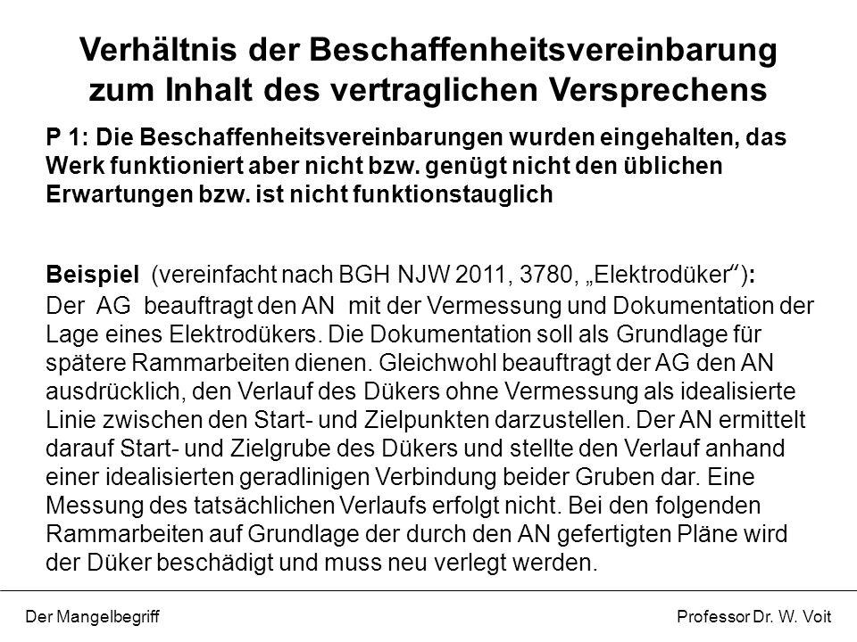 P 1: Die Beschaffenheitsvereinbarungen wurden eingehalten, das Werk funktioniert aber nicht bzw. genügt nicht den üblichen Erwartungen bzw. ist nicht
